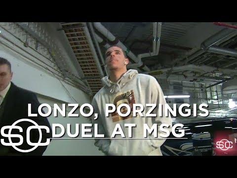 Lonzo Ball duels with Kristaps Porzingis at the Garden | SportsCenter | ESPN