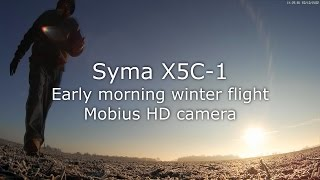Syma X5C-1 & Mobius, frosty country morning & a hungry tree. CRASH!