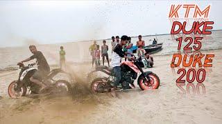 KTM Duke 125 v/s Duke 200  Burnout and Rolling at Brahmaputra River. in Best place of Assam