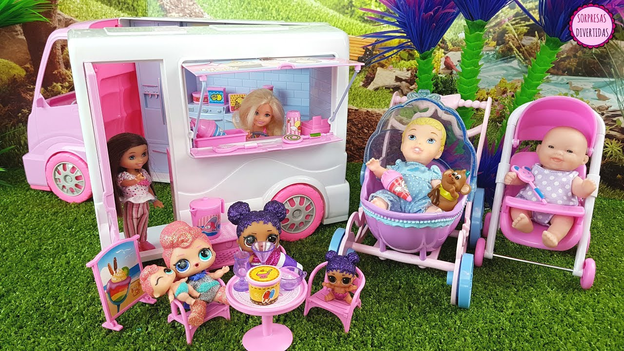 mu ecas lol y beb s de juguete compran helados en el cami n de barbie chelsea food truck toys. Black Bedroom Furniture Sets. Home Design Ideas