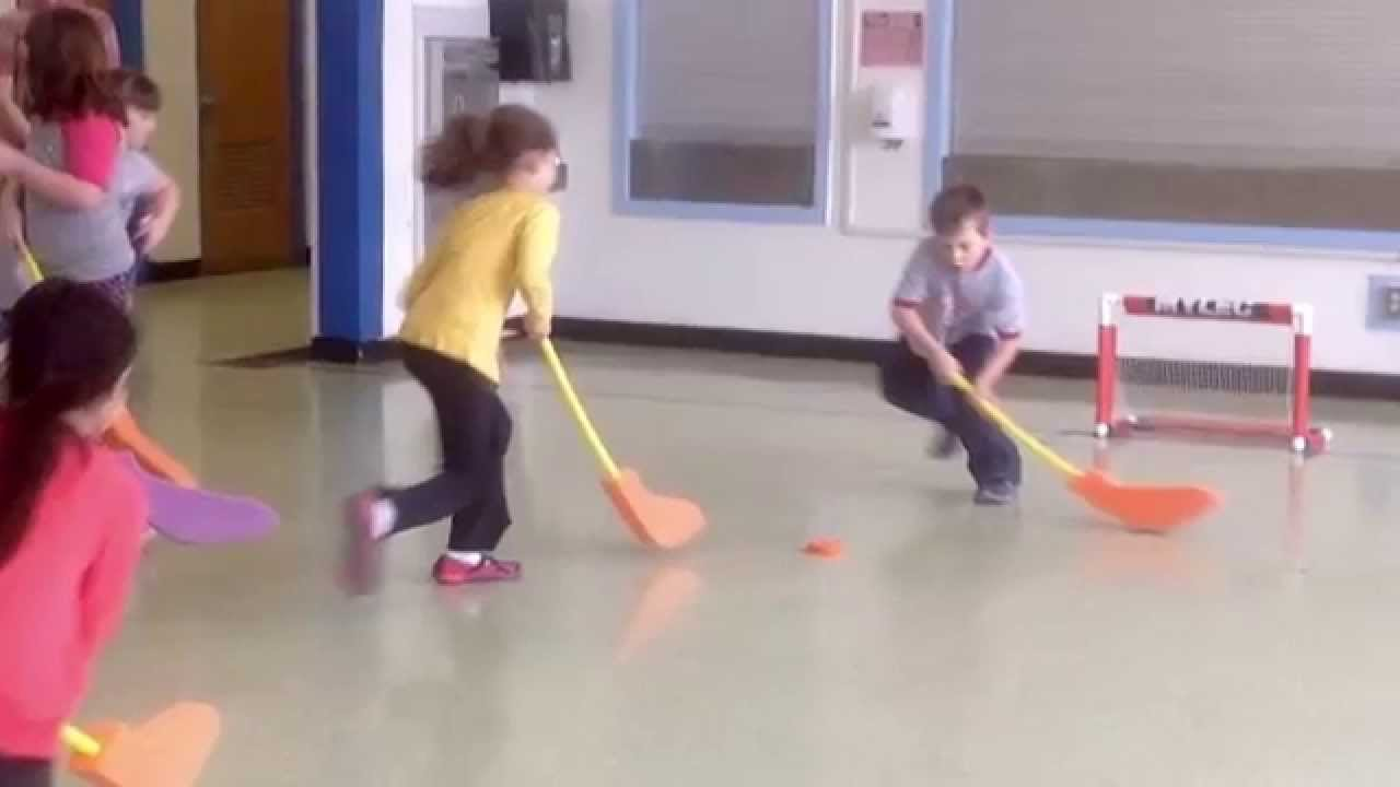 Elegant Elementary Floor Hockey, Practice Stick Handling, Passing, Then Play UMS PE