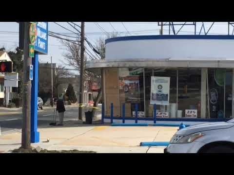 Nor'easter wind smashes window in Sherwin-Williams in Wildwood