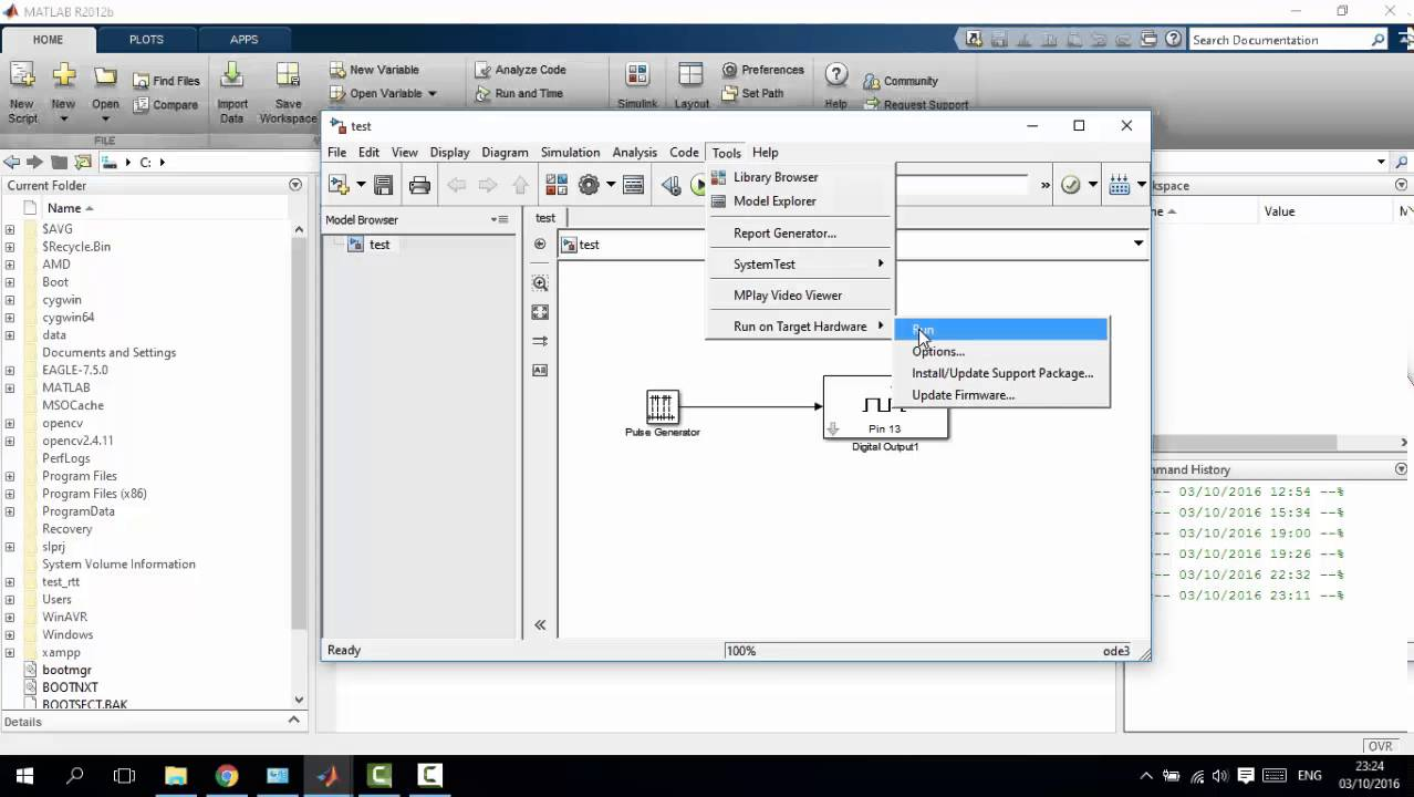 Matlab Simulink: Simulink does not permit you to build programs in the  MATLAB installation area