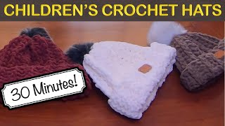 EASY CHILD SIZED CROCHET WINTER HAT - 30 MINUTES!