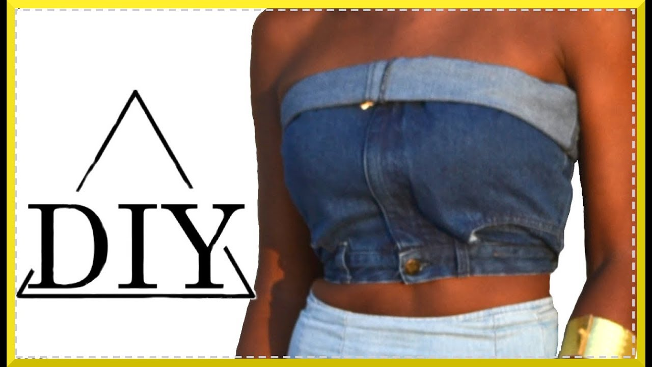 Easiest Way to Make a Denim Crop Top no sewing no glue | SHANiA - YouTube
