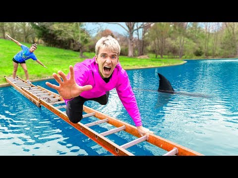Last to Fall Into Backyard Pool Wins $10,000! (Pond Monster SHARK Spotted)