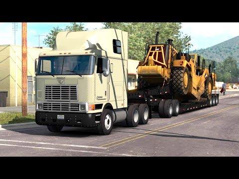 American Truck Simulator - International 9800 Truck Transporting a Scrapper |