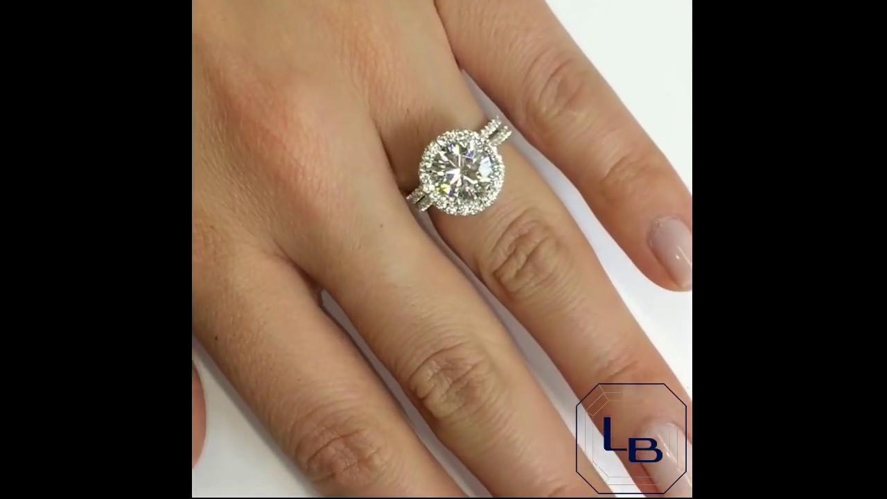 b88b5e13e 9mm Round Moissanite Halo Engagement Ring - YouTube