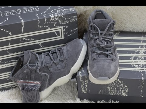 fa2894b2f756b3 Air jordan 11 retro suede grey with correct packing box review - YouTube
