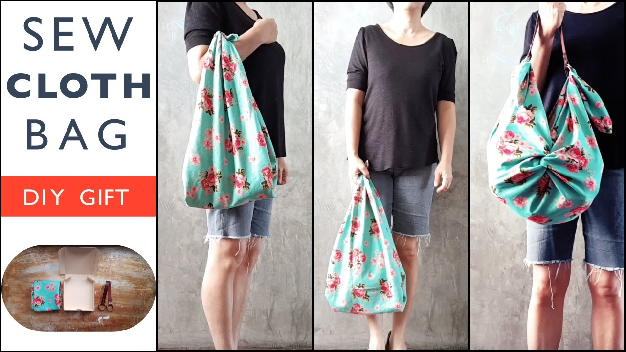 f639fdc74 DIY GIFT : Sew Cloth Bag with Leather Strap, Furoshiki Style ! - YouTube