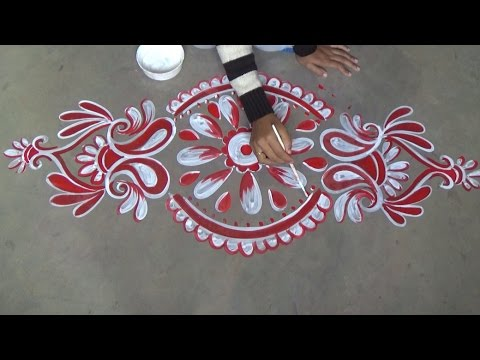 Alpana Design For Door With Red White Colour Muggulu Designs You