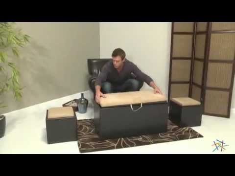 Garrett Coffee Table Storage Ottoman with Tray and Side Ottomans - Product  Review Video - YouTube - Garrett Coffee Table Storage Ottoman With Tray And Side Ottomans