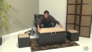 Garrett Coffee Table Storage Ottoman With Tray And Side Ottomans - Product Review Video