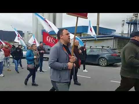 Marcha reivindicativa de los trabajadores de Leche Celta en Meira