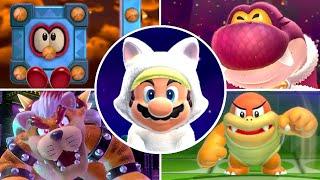 Super Mario 3D World - All Bosses with White Cat Mario