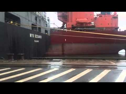 Bulk Carrier crashed Container Ship and loses his Ship steps (Hamburg Harbour)
