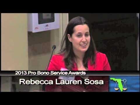 Rebecca Sosa Receives the 2013 Florida Bar Young Lawyers Division Pro Bono Service Award