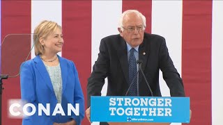 Bernie Sanders Seems Reluctant To Endorse Hillary  - CONAN on TBS