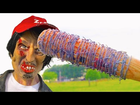 Glenn's The Walking Dead Death in Real Life! Lucille Barbed Wire Baseball Bat! Zombie Go Boom