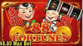 88 Fortunes Slot Machine $8.80 Max Bet  Bonuses Won | Fisrt Spin Bonus | Max Bet Live Slot Play