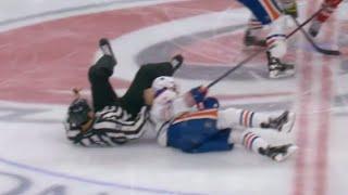 Nail Yakupov Injury After Linesman Falls on Him