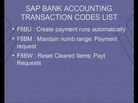 SAP Bank Accounting  Transaction Codes , module Tutorial