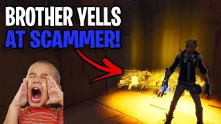 Psycho scammer gets yelled at by brother! 😂 (Scammer Get Scammed) Fortnite Save The World