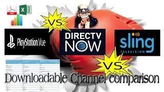 Streaming TV Service Lineup comparison DirecTVnow, SlingTV, Playstation Vue