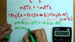 Calorimetry: Using q=mΔTc to find Temperature + Example