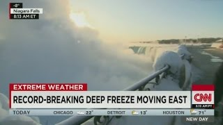 Frozen Niagara Falls creates huge mist cloud