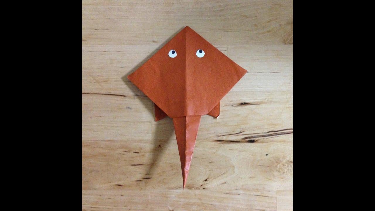 すべての折り紙 youtube 折り紙 : 折り紙 エイ 折り方 作り方 ...