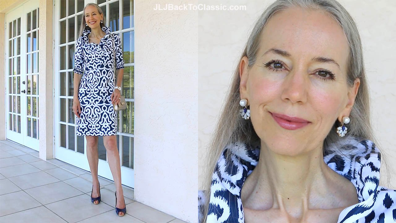 Classic Fashion Style Over 40 50 Navy And White Ruffle Dress And Gold Salvatore Ferragamo Bag