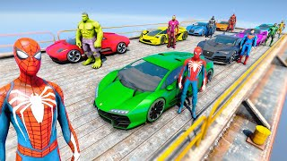 Spiderman and CARS with Super Heroes Cars in the Air Challenge Hulk, Iron Man, Batman - GTA V Mods