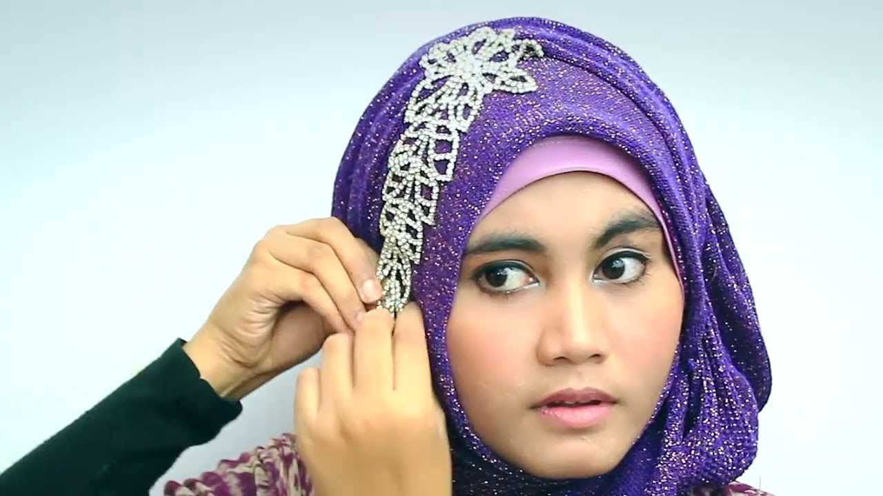 Hijab Tutorial 2016 With Glitter Shawl For Party