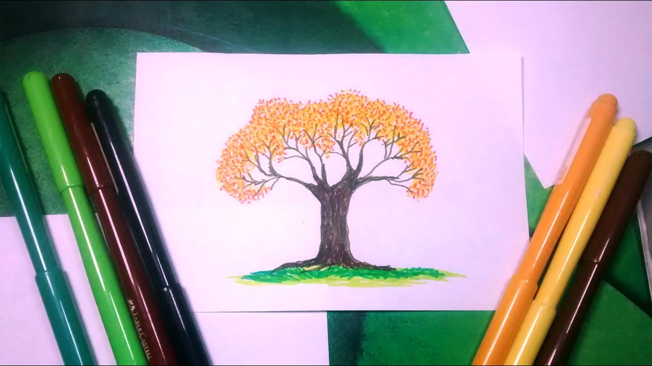 Còmo Dibujar Un Arbol De Primavera Con Marcadores De Colores Youtube