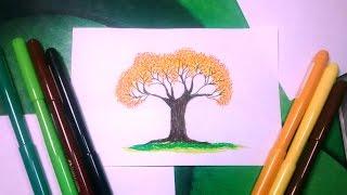 Còmo dibujar un arbol de primavera con marcadores de colores
