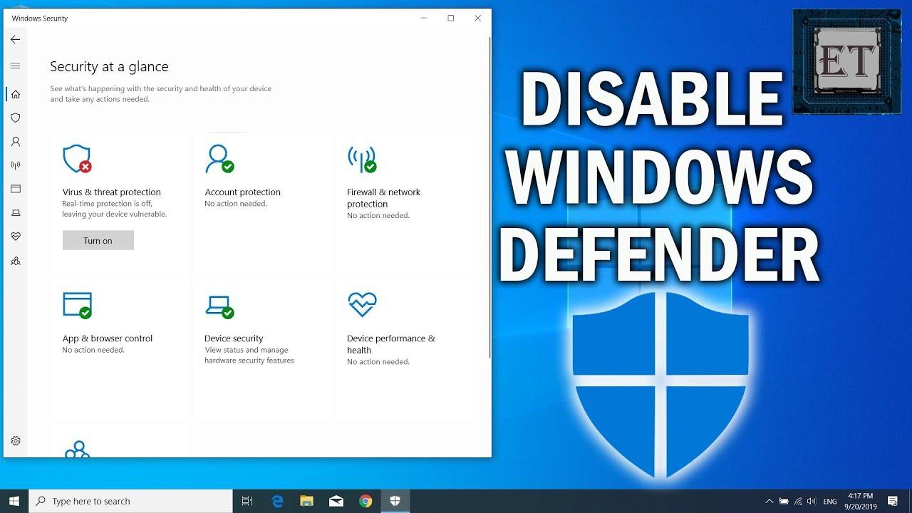 Chỉ dẫn Vô Hiệu Hóa window Defender Trong windows 10