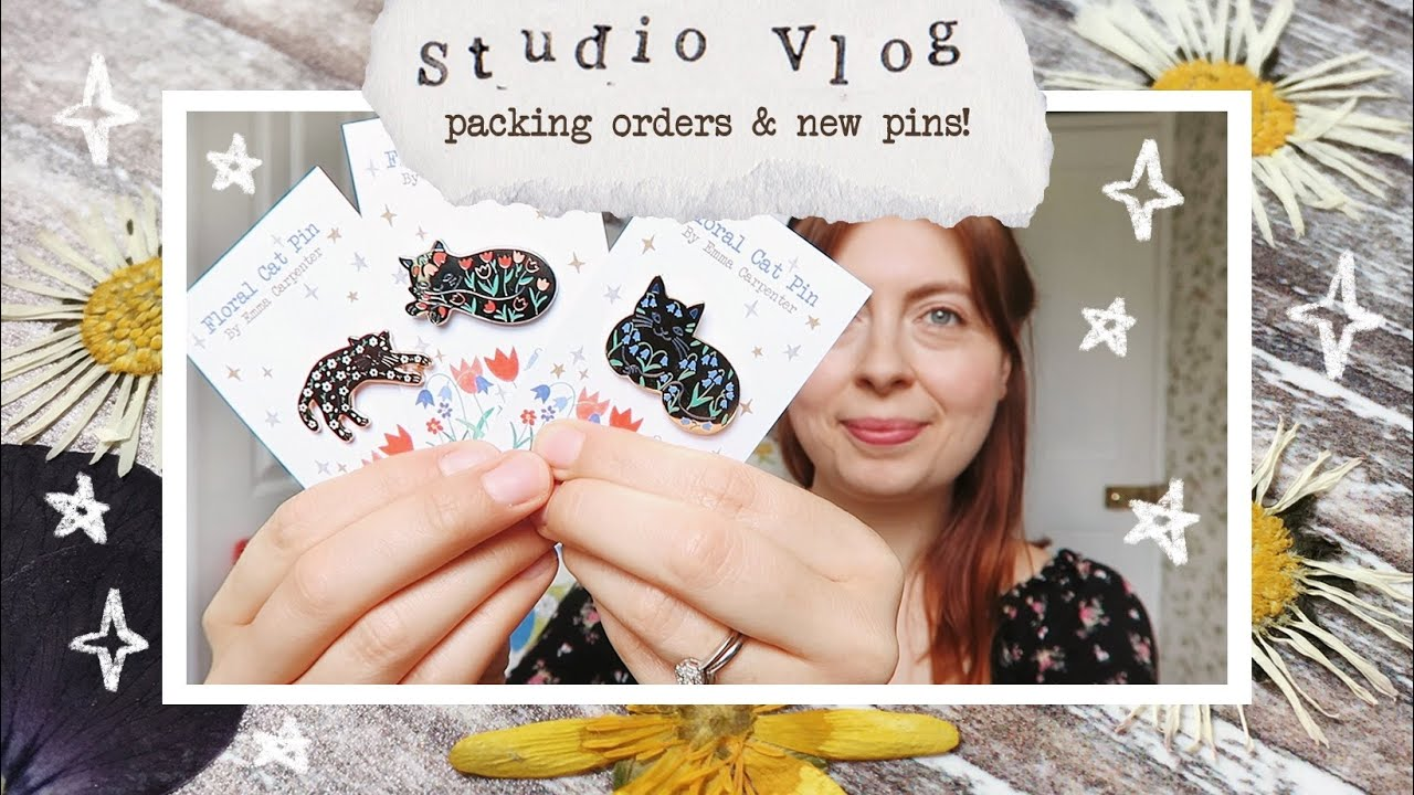 Studio vlog 024 | a busy week packing orders + unboxing new enamel pins!