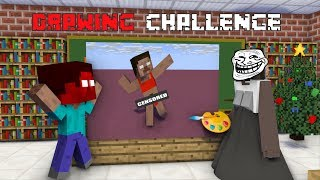 Monster School : DRAWING CHALLENGE VS GRANNY HORROR - Minecraft Animation