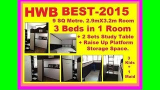Hwb® Best-2015.loft Bed-s.single+2-single. 3-girls+a Maid In-1 Rm. 2-studytable.rivervalecondo