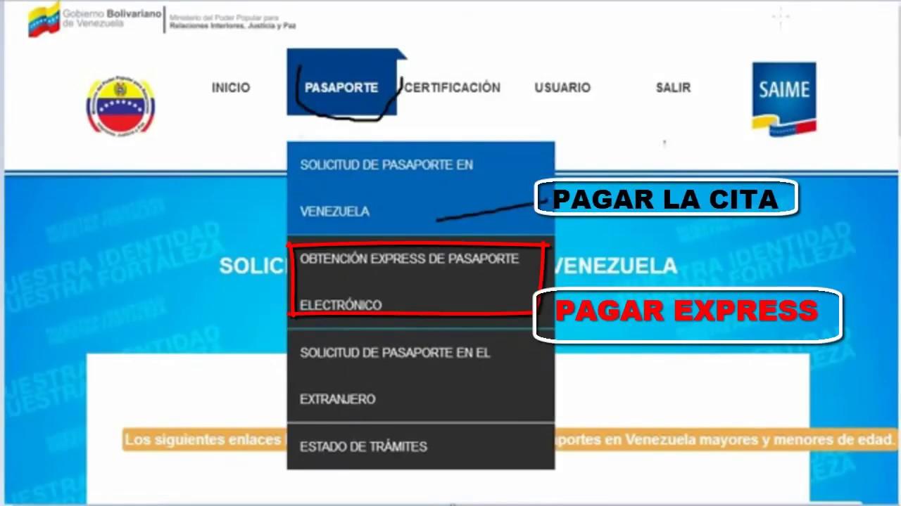 COMO PAGAR LA CITA Y EXPRESS DEL PASAPORTE EN VENEZUELA - YouTube