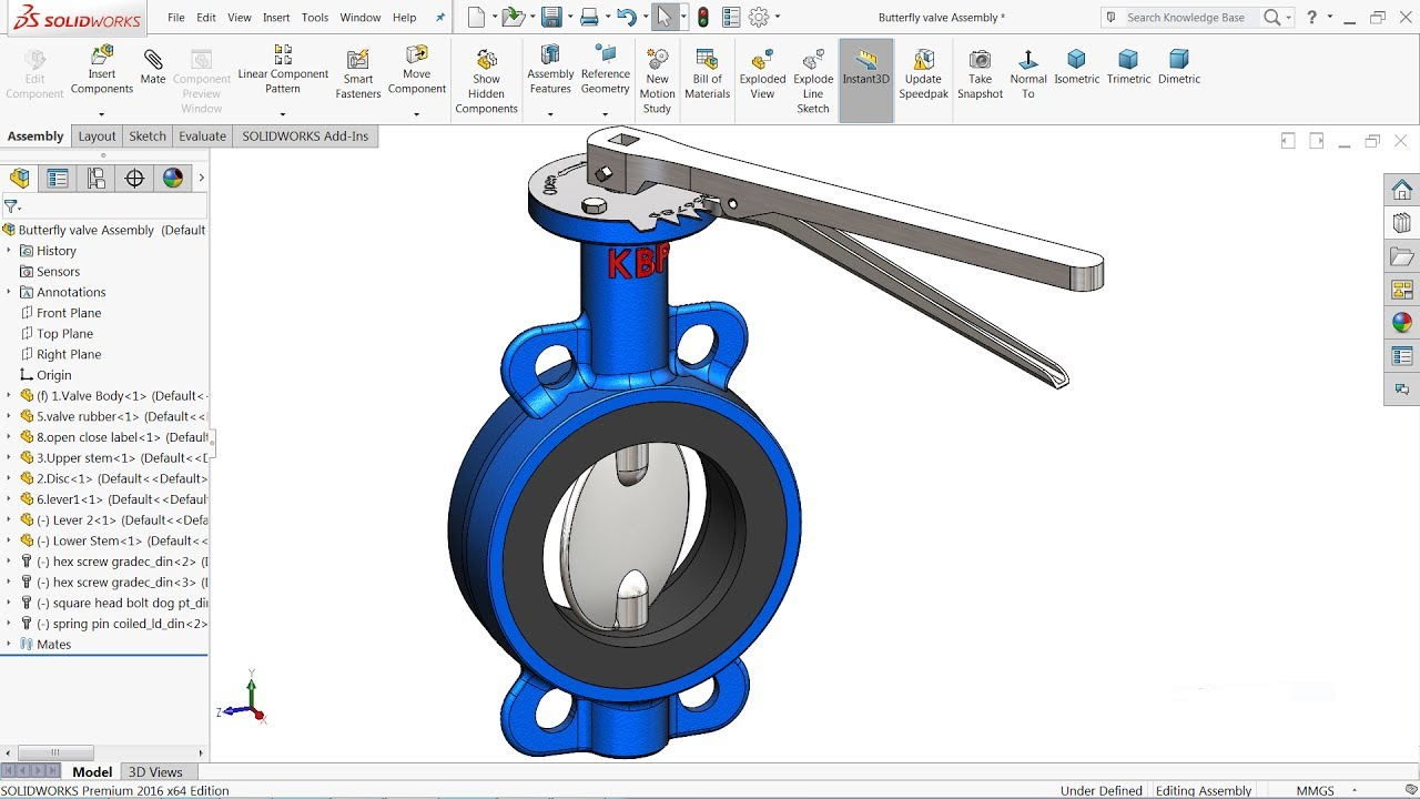 Solidworks tutorial design of butterfly valve in for 3d drawing online no download