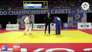 Word Judo Championship Cadets Sarajevo 2015 Final -66kg ESPOSITO G. (ITA) vs. NINIASHVILI (GEO)