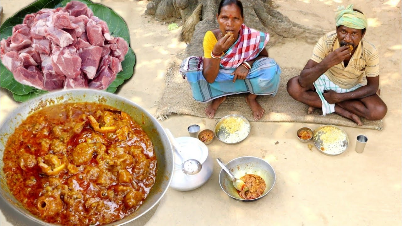 MUTTON CURRY recipe cooking & eating with hot rice by a santali tribe couple || rural village life