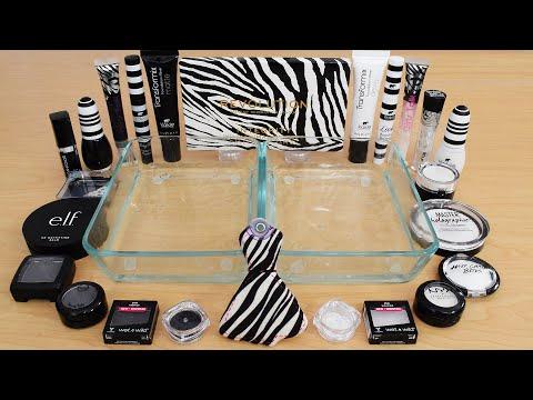 Black vs White - Mixing Makeup Eyeshadow Into Slime ASMR 250 Satisfying Slime Video