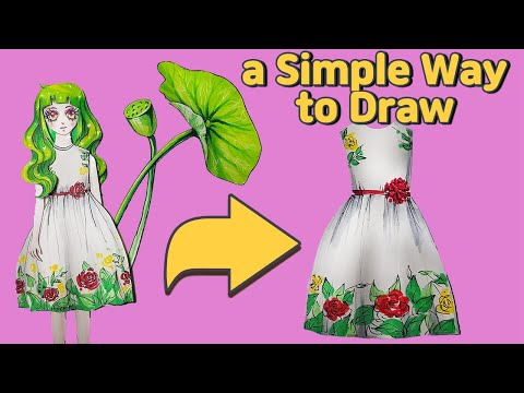 DIY Handmade Paper Doll's Floral Dress how to draw 종이인형 그리기
