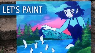 Let's Paint - Bunny Worm Lake (following a Bob Ross tutorial!)