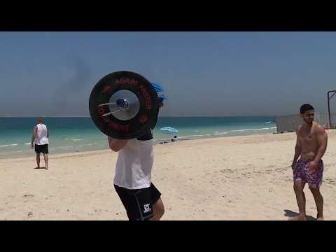 Dmitry Klokov - training on the beach in Dubai