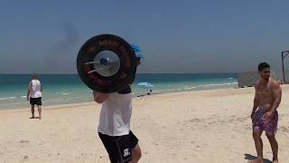 Dmitry Klokov - training on the beach in Dubai