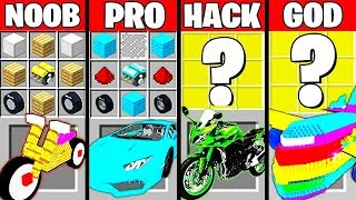 Minecraft Battle: SUPER CAR MOD CRAFTING CHALLENGE - NOOB vs PRO vs HACKER vs GOD ~ Funny Animation